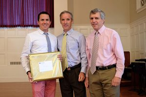 Chris Pelliccia with Head of School Robert w. Hill III and Dean of Faculty Peter Valine