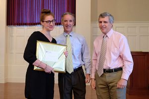 Emily Ditkovski with Head of School Robert W. Hill III and Dean of Faculty Peter Valine