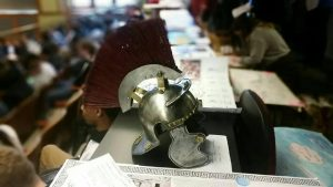 Gabe Moon '18 taught himself metal working to create this prize-winning Roman helmet.