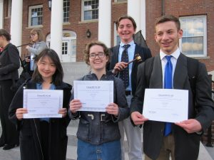 Keyu Lu '20, Sophie Little '19, Josh Calianos '18, and Reilly Gluz '19 after the Model UN meet