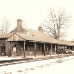 The Easthampton Rail Station in the mid-1950s, shortly before passenger service ceased.
