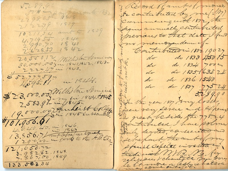 An especially egregious example of Samuel Williston's handwriting: a log of charitable contributions from the 1840s.