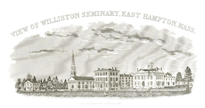 The campus in 1845, showing Principal Wright's house, the First Church, English (Middle) Hall, and the White Seminary.