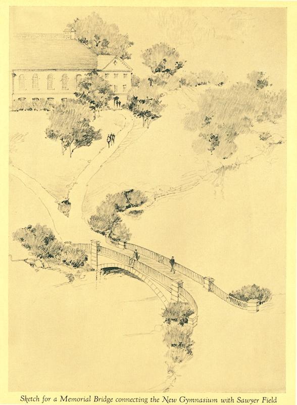 MacNaughton's design for a bridge over the campus pond.
