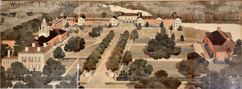 The full rendering of the master plan. The Homestead is at left. Above (east of) it is Memorial Hall, then a dormitory complex. The dining hall is at the end of the avenue, with Ford Hall and the Recreation Center to the right.