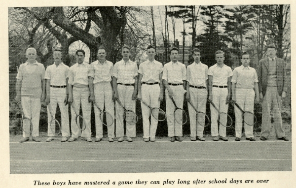 Headmaster Archibald V. Galbraith, who typically coached three sports, is at the left.