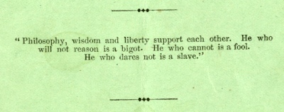 Adelphi's unequivocal motto. (Constitution and By-Laws, 1858)