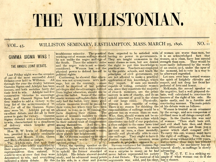 The Willistonian devoted two full pages, including the front, to the joint Women Suffrage debate of 1896. (For a copy of the full article, please email the archivist.)
