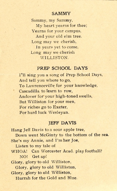 "Detail from ""Williston School Songs,"" 1905."