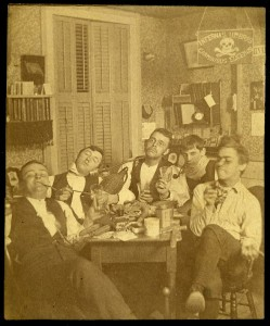 A formal meeting of Sigma 'Eta Delta. The reverse of the photograph is dated 1890. (Click images to enlarge.)