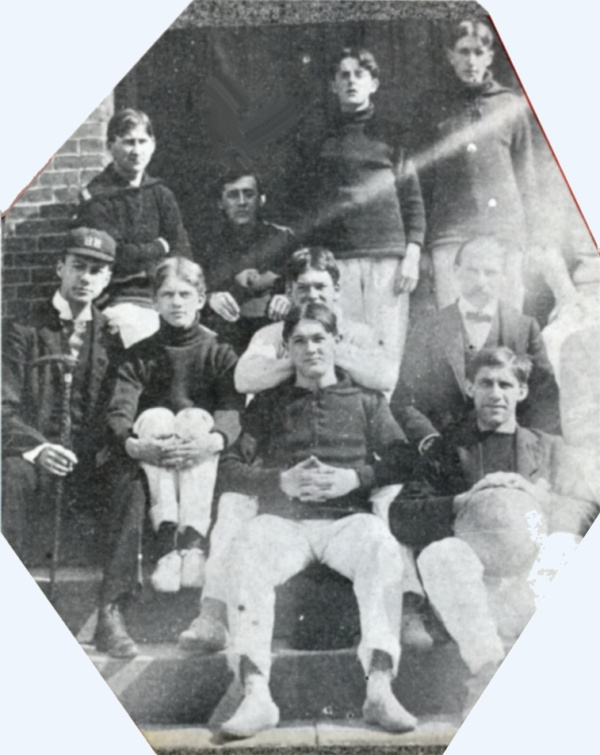 A sadly deteriorated scrapbook photo of the first team.  Bill Crawford is front and center; we think John Frizzell is in the back row, second from left.