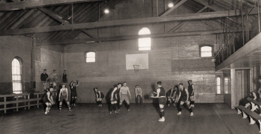 A rare photo of a game in progress in the Old Gym, ca. 1905.