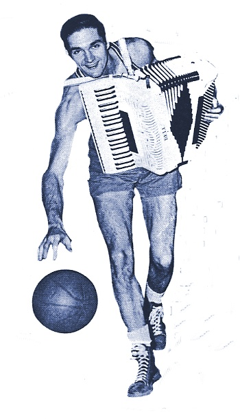 Tony Lavelli '45.  As a Celtic, he played the accordion during halftime.