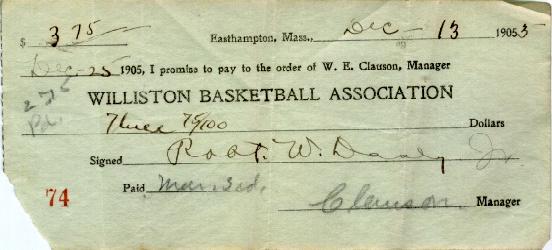 Basketball subscription ticket, 1905.