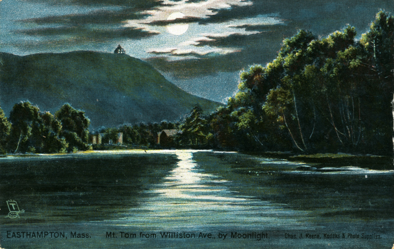 Postcard, ca. 1910, of Nashawannuck Pond by moonlight. (Click all images to enlarge.)