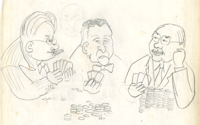 "One of the newly acquired sketches, featuring chemistry teacher Ralph ""Doc"" Phillips, Dean A. L. Hepworth, and French teacher/drama coach/Alumni Secretary/Ford Hall master Howard G. Boardman."