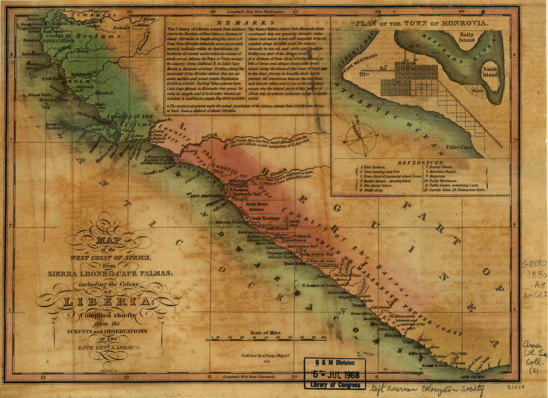 A map of Liberia and environs, from the 1830s (Library of Congress)