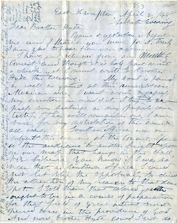The first page of Luther Wright's letter.