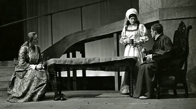 As Lady Alice More, 1966, with Theo Westenberger '68 and Doug Jones '67. (Paul Wainwright '68)