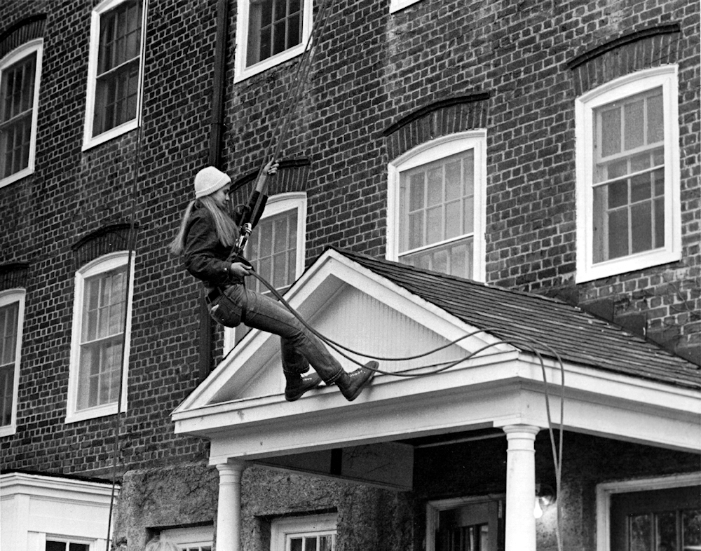 Rappelling practice, 1973.