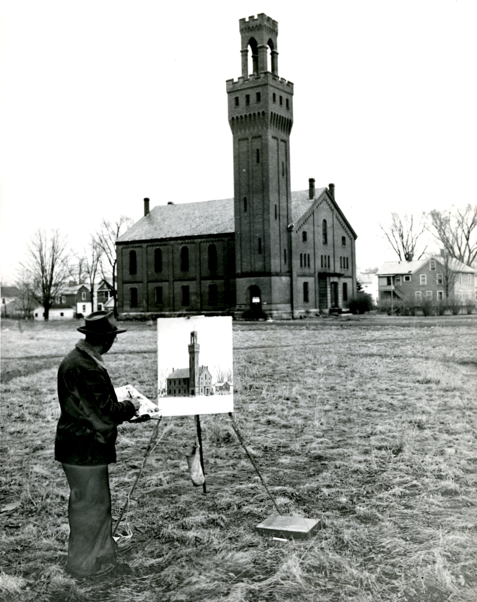 Kiesling at work on the Gymnasium painting