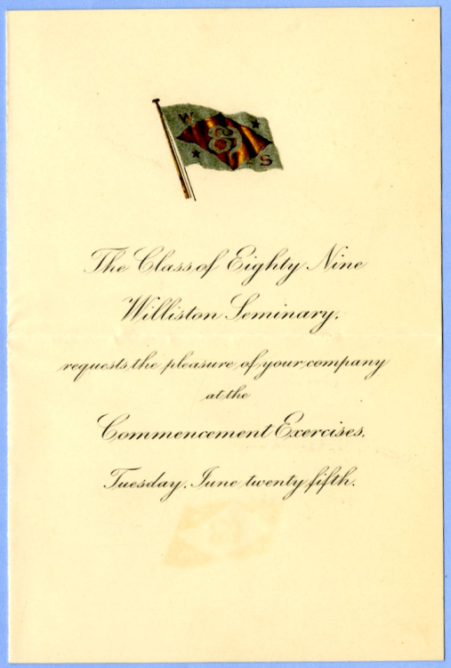 George B. Wardman scrapbook. 1889 commencement invitation.