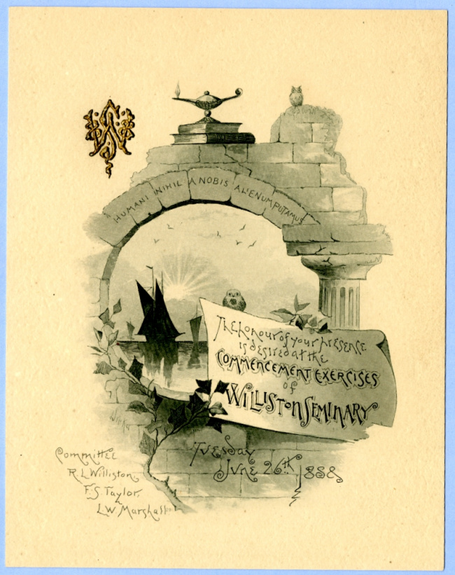 George B. Wardman scrapbook. 1888 commencement invitation.