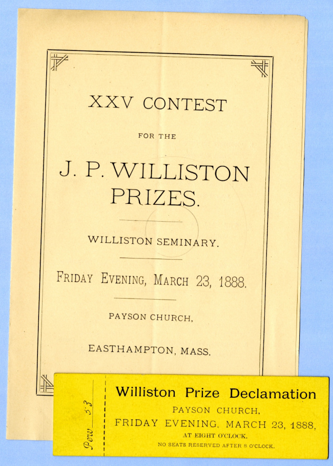 George B. Wardman scrapbook. J. P. Williston Prizes.