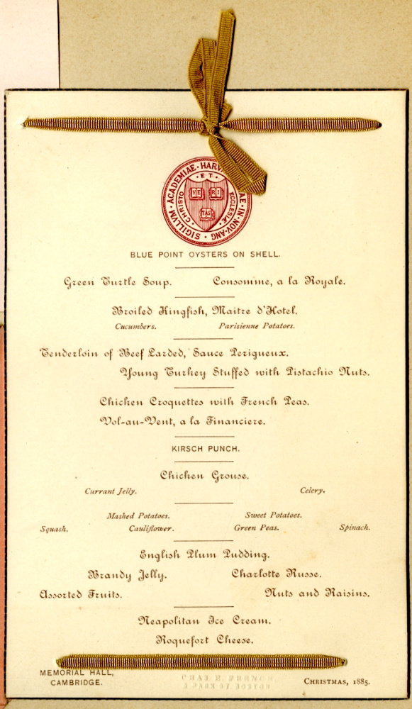 George B. Wardman scrapbook. Harvard Christmas menu.