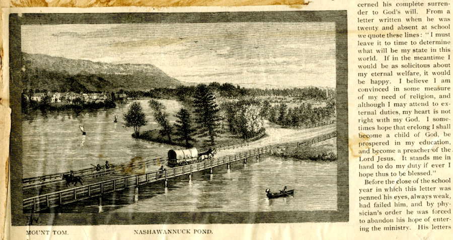 George B. Wardman scrapbook. Engraving of Nashawannuck Pond.