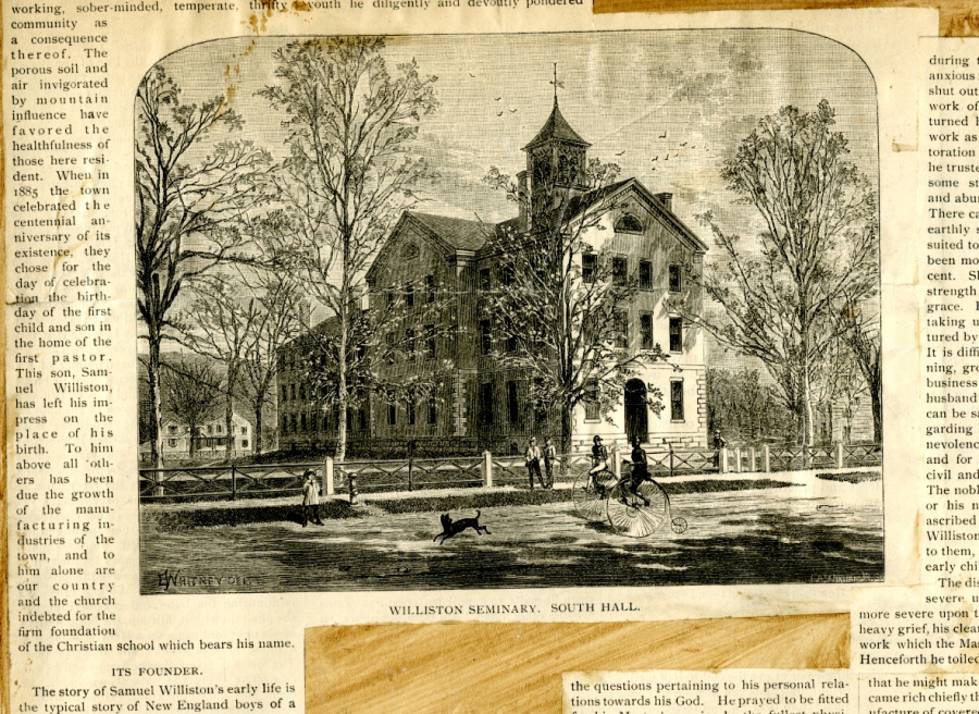 George B. Wardman scrapbook. Engraving of South Hall.