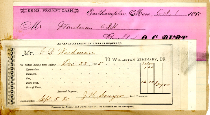 George B. Wardman scrapbook. Tuition receipt, Sept. 1885.