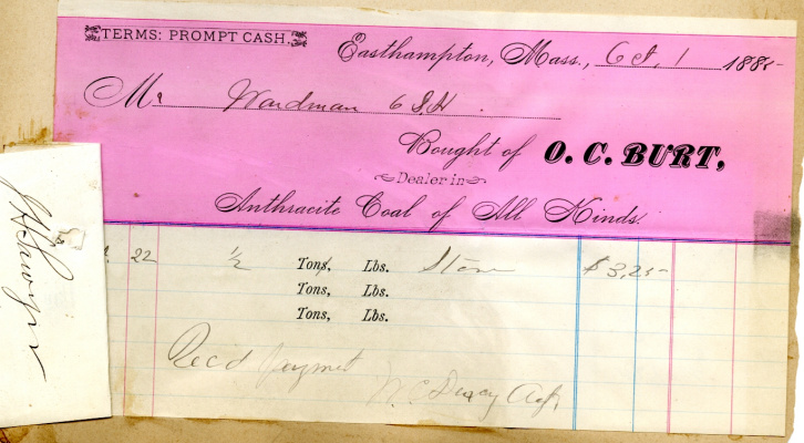 George B. Wardman scrapbook. Receipt for purchase of coal.