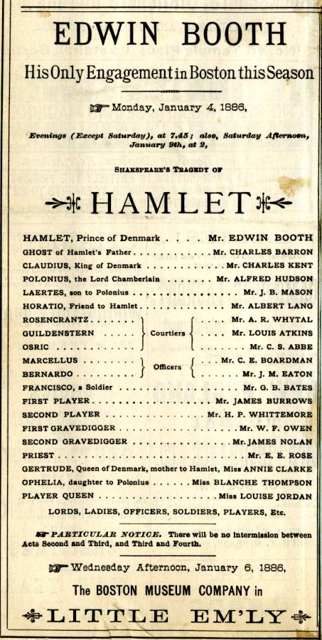 George B. Wardman scrapbook. Hamlet, 1886.