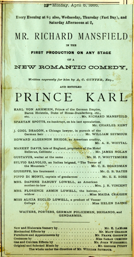 George B. Wardman scrapbook. Prince Karl, 1886.