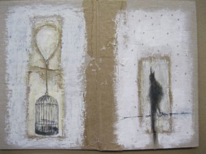 The Caged Bird, mixed media drawing. Jimmy Ilson