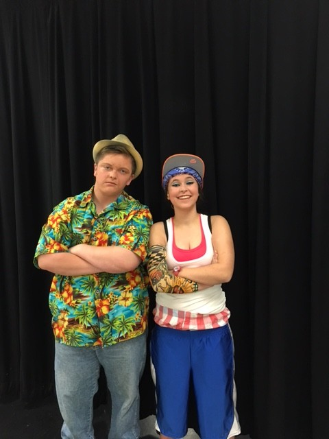 Josh Holmberg '18 and Gabby Record '17 as Piragua Guy and Graffiti Pete