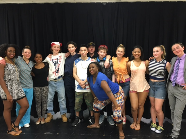 The ensemble. L-R: Destiny Nwafor, Sarah Lucia, Abby Berry, Nick Hill,, Caleb Stern, Eric Chen, Kai McCalla, Nate Gordon, Henning Fischel, Haley Beecher, Triniti Slaughter, Anna Wilinsky, and Josh Calianos