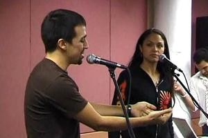 "Lin-Manuel Miranda (Usnavi) and Karen Olivo (Vanessa) during the sitzprobe for the original Broadway production of ""In the Heights."""