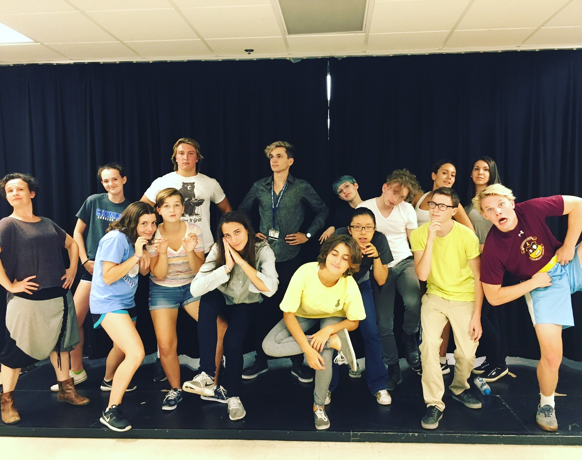 The cast of COMEDY OF ERRORS ham it up with Ms. Sloane at the end of our workshop.