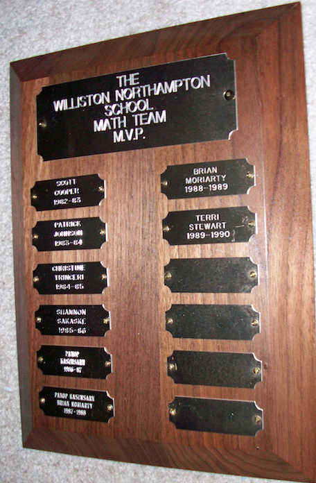 "From Kathy: ""The Math Team MVP plaque that was displayed in my mother's classroom in the school house."""