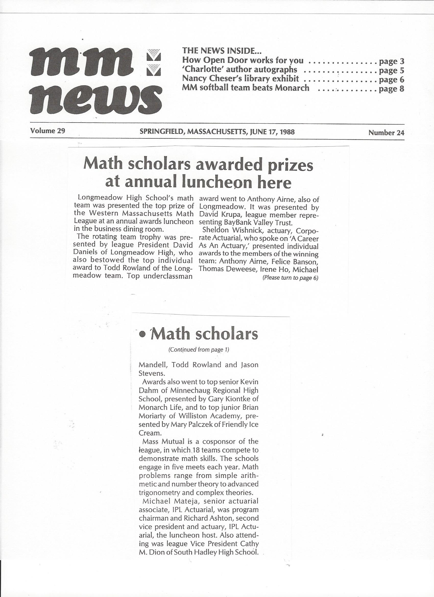 Mass Mutual News article documenting attendance at the 1988 Western Mass Math League awards luncheon held at Mass Mutual Insurance Company honoring top scoring students.