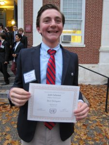 Josh Calianos '19 won 'Best Delegate,' the conference's highest honor.