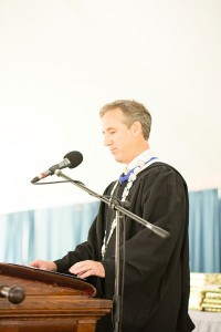 Head of School Robert W. Hill III addresses the assembly. Photo by Joanna Chattman