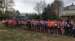 Boys cross-country teams at the starting line up
