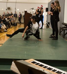 Rio Oshima '19 brought down the house at a recent Fall Family Weekend assembly.