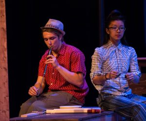 "Kevin O'Sullivan '18 on the slide whistle during a dress rehearsal of ""The Comedy of Errors"""