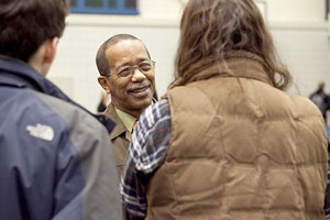 Dr. Duane Jackson of Morehouse College talks with students at The Williston Northampton School